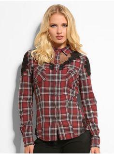 Alva Cowgilr Lace Plaid Shirt | GUESS.eu
