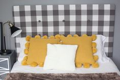 Easy-to-sew, reversibly padded headboard cover: How to make a simply padded .Easy-to-sew, reversibly upholstered headboard cover: How to create a simply upholstered headboard that slides over the headboard like a pillow case. Use a tie Cardboard Headboard, Headboard Tiles, Cheap Diy Headboard, Diy Tufted Headboard, Full Size Headboard, Headboard Cover, How To Make Headboard, Velvet Headboard, Diy Headboards