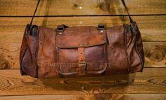 7197d25b23 Handmade Real Vintage Leather Goat Luggage Duffel Travel Sport Gym New  Men s Bag  Handmade
