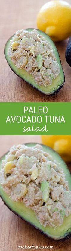 Healthy tuna avocado salad paleo recipe that's compliant! Paleo avocado tuna salad is an easy gluten-free lunch or snack recipe in 5 minutes with just 4 essential ingredients. Whole Food Recipes, Diet Recipes, Cooking Recipes, Healthy Recipes, Salad Recipes, Easy Avocado Recipes, Easy Paleo Meals, Paleo Ideas, Ramen Recipes