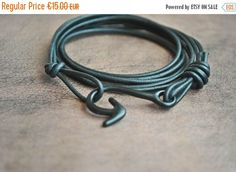 20% OFF Fish hook  leather bracelet leather bracelet black leather bracelet matte black  bracelet bracelets bracelets for women pulser (12.00 EUR) by CristinaHandmade