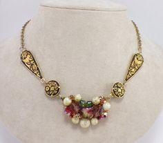 Vintage Necklace Assemblage Damascene  Bird Motif by ravished, $30.00