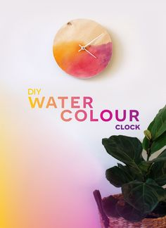 Take a boring old piece of wood and turn it into a cute watercolour clock.