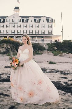 Gorgeous watercolor gown at a DIY wedding on Block Island: http://www.stylemepretty.com/2014/06/09/diy-wedding-block-island-watercolored-gown/ | Photography: http://www.katieslaterphotography.com/