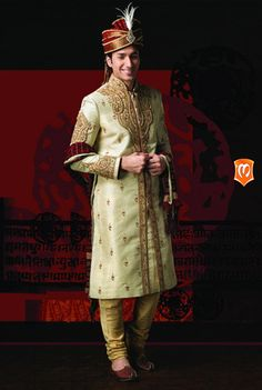 The Manyavar Royal Silk Sherwani for Men :- This sherwani weaved on the fabric…