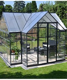 Garden Chalet Greenhouse by Palram - Greenhouse at Burpee.com  --  $2200  Garden Chalet Greenhouse by Palram  Write a review Be the first to write a review Classic combination of outdoor leisure living and gardening space Constructed with virtually unbreakable polycarbonate panels, this T-shaped cathedral design serves as both a botanical orangery greenhouse and a private sun lounge. Two vent windows provide plenty of air circulation. Twin Wall Polycarbonate roof panels protect from strong…