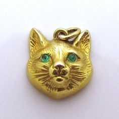 Antique Victorian 14K Gold 3D Jeweled Figural Cat Face Fob Charm w/Emeralds