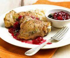 Kuřecí stehýnka s brusinkovou omáčkou  (Chicken legs with cranberry sauce)