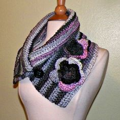 Button Cowl Scarf Infinity Neckwarmer For  by wildirishrosecrochet, $42.00