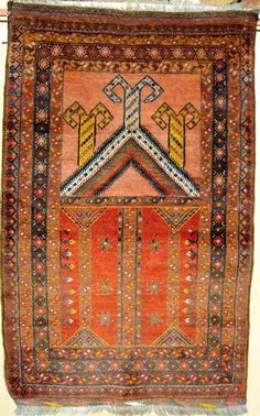 TURKOMAN BESHIR PRAYER RUG. An outstanding antique example with natural dyes and extensive use of saffron yellow. It is dated 1311 which is the equivalent of 1893. It is in excellent condition. Reference 275. Size 123 x 100cms. Euros 1,250. SOLD - GERMANY.