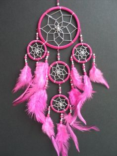 DREAMCATCHER DARK PINK silver web DREAM CATCHER