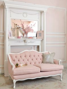 Shabby Cottage Chic Pink Linen Tufted French Style Loveseat Couch Sofa