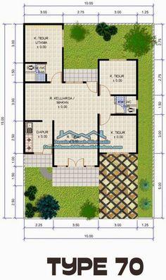 denah rumah minimalis type 70 1 lantai. Bisa jadi inspirasi jadi denah rumah kayu tradisional.