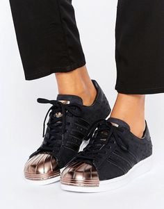 a78b1d3a53a Adidas adidas Originals Black Metallic Superstar Sneakers With Rose Gold  Toe Cap Rose Gold Trainers