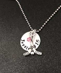 A personal favorite from my Etsy shop https://www.etsy.com/listing/225455862/hand-stamped-hockey-necklace-hockey