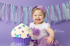Tracy Christine Photography Cake Smash Orchid Seamless Paper First Birthday Purple and Aqua cupcake