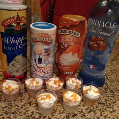 Made these for my friends at our last girl's scrapping weekend - YUMMY! Pour frozen Pinnacle Salted Caramel Vodka in shot glass - top with whipped cream - drizzle with caramel and sprinkle some sea salt!