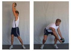 Fitness traininer demonstrates the Downward Wood Chop golf swing training exercise - Mike Pedersen