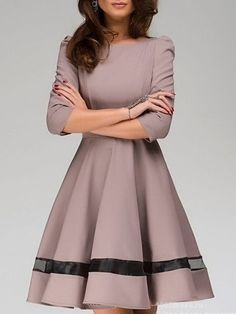 Fabulous Round Neck Patchwork Skater-dress....I love how elegant it looks, especially in that color!