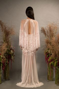 Wildflower Cape Gown, hand-embroidered with silk thread, featuring a high neck and centre slit skirt in silk chiffon. Cape Gown, Wedding Types, Bridal Cape, Floral Gown, Bridesmaid Dresses, Wedding Dresses, Couture Collection, Silk Chiffon, Wedding Designs