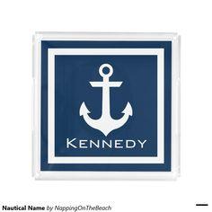 Nautical Name Square Serving Trays