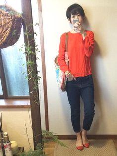 4月27日 ZARAオレンジトップスにGAPメンズデニムの元気カラーコーデ