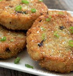 You can eat potato quinoa patties like hash browns, served on a bed of fresh greens for lunch or enjoy them as a vegetarian main course for dinner.  - Everyday Dishes & DIY