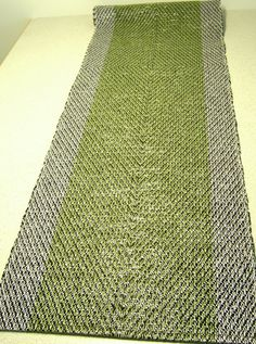 Hand woven Glossy Green- Table Runner, made from recycled materials, video cassette tape.