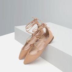 tie-up leather ballerina flats