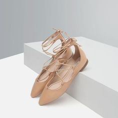 tie-up leather ballerina flats