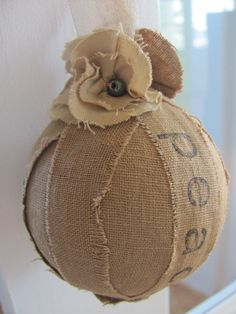 Items similar to Rag Ball Ornament with Petite Tea Stained Flowers- Peace, Joy & Love on Etsy Burlap Christmas, Primitive Christmas, Country Christmas, Simple Christmas, Christmas Time, Christmas Swags, Primitive Crafts, Burlap Projects, Burlap Crafts