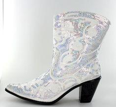 71da4b5f60c4 Short Bling Boots by Helens Heart - White Cowgirl Boots White Cowgirl  Boots