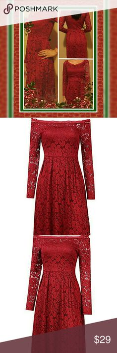 Sophisticated Deep Red Lace Off Shoulder Dress NWT Sophisticared Deep Red HiQueen Vintage Lace Off Shoulder Long Sleeves Party Casual Swiss Dress Made of High Quality Lightwieght Comfortable Polyester + Spandex Its the perfect ballance between sexy and classy so its a great choice for that special date, evening party, Cocktails, Clubing, Casual, etc  either way your going to look beautiful in it Dress Size is M: Actual Measurements are Length: 35.88 inch,Bust:34.32 inch,Waist:28.86…