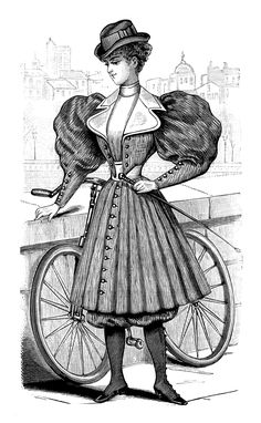 Victorian Women Vintage French Bicycle Outfit for Ladies Magazine Ad