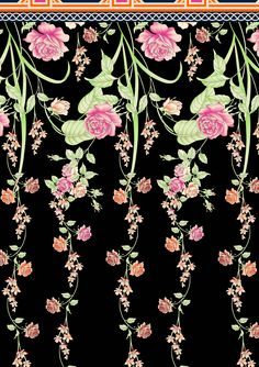 Retro Wallpaper, Flower Wallpaper, Pencil Drawings Of Flowers, Textile Prints, Textiles, Textile Design, Embroidery Works, Surface Pattern Design, Painting Inspiration