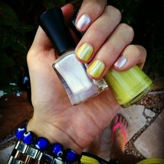 Neon nails with stripes #nails #nailart #neon #summer #leighannsays     http://followgram.me/leighannsays/