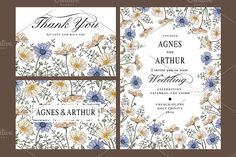 Wedding Flowers Chamomile Card Frame by Vintage on @creativemarket