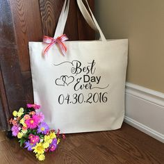 Best Day Ever - Personalized Tote Bag - Gift for Bride - Wedding Tote Bag…