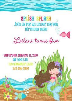 Invitation for Aliya's bday party...Etsy $10.00