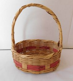 $25 for sale 2020 Vintage Wicker Easter Basket small Round made in Mexico   Etsy
