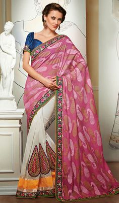 Pink and Off White Embroidered Jacquard Half N Half Saree Price: Usa Dollar $108, British UK Pound £64, Euro80, Canada CA$117 , Indian Rs5832.