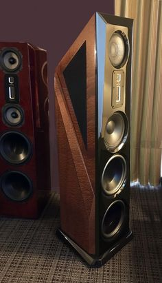 """Legacy Aeris in Natural Sapele Pommele finish at the Florida Audio Expo """"T. Music Speakers, Home Speakers, Wireless Speakers, Equipment For Sale, Audio Equipment, Room Acoustics, Speaker Box Design, Audiophile Speakers, Audio Room"""