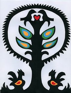 Polish paper cutting - Wycinanki  this is simple enough for elementary age kids.
