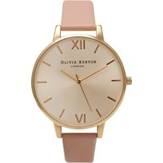 Olivia Burton Big Dial Watch - Gold & Dusty Pink ($115) ❤ liked on Polyvore featuring jewelry, watches, accessories, bracelets, montres, pink jewelry, pink wrist watch, gold strap watches, pink gold jewelry and olivia burton