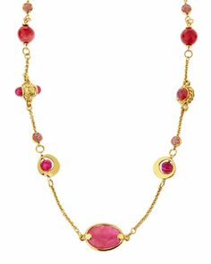 """Long Pink Agate Station Necklace, 44""""L by Jose & Maria Barrera at Neiman Marcus."""