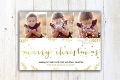 White Christmas card template  Gold Christmas by MerryElleDesign