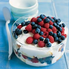 Healthy breakfast. Red, White, Blueberry Trifle and soya milk.