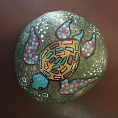 The background done in nail polish-by Kerry Native American Spirituality, Hand Painted, Art Projects, Turtle Painting, Painting, Turtle Painted Rocks, Art, Call Art, Garden Art