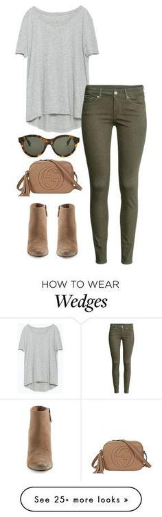 Conjunto: pantalón verde militar, camiseta gris y botines y bolso marrón…