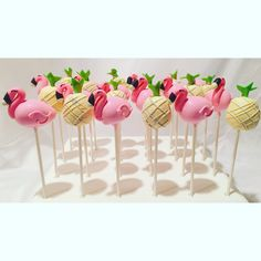 Flamingo Birthday Cakes for a Pink Flamingo Baby Shower or Birthday Party. Flamingo Desserts are the perfect touch. Flamingo Party, Flamingo Cupcakes, Flamingo Baby Shower, Flamingo Birthday, Baby Shower Cake Pops, Baby Shower Desserts, Birthday Cake Pops, Luau Cake Pops, Hawaiian Cake Pops